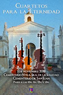 Cuarteto músical en los Cementerios de Badajoz