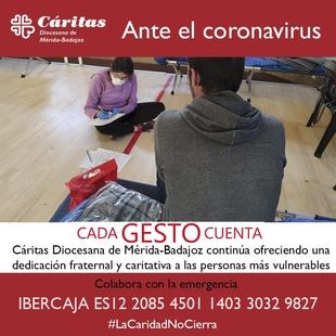 Cáritas lanza una campaña para llamar a la solidaridad de todos ante el Coronavirus