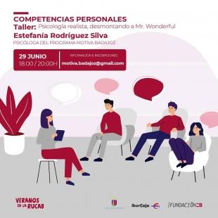 El próximo lunes 29 de junio Estefanía Rodríguez imparte un taller psicología realista