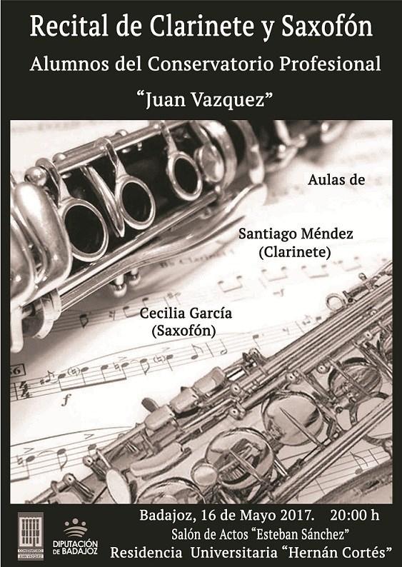 Alumnos del Conservatorio Juan Vázquez ofrecen este martes un recital de clarinetes y saxofones