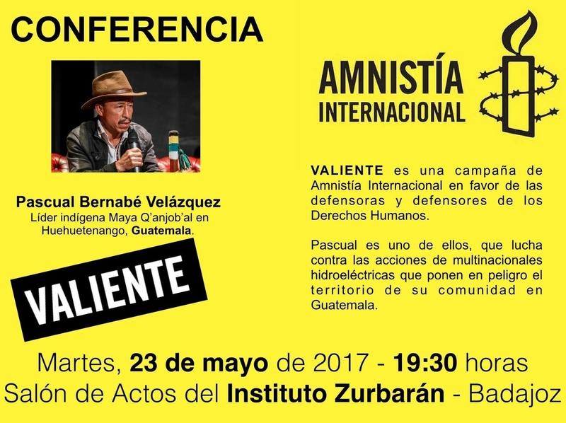 Amnistía Badajoz organiza una conferencia-coloquio con un líder indígena guatemalteco y defensor de derechos humanos