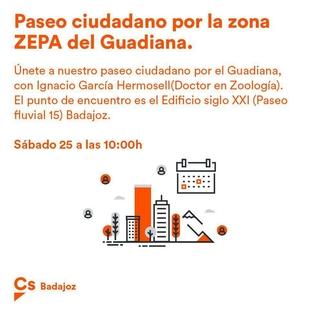 Ciudadanos Badajoz organiza un paseo didáctico por la zona ZEPA del Guadiana para este sábado