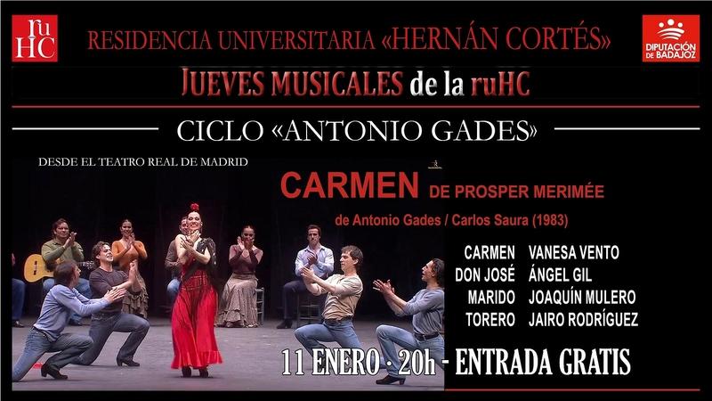 La Hernán Cortés proyecta el espectáculo ''Carmen'' de Antonio Gades y Carlos Saura