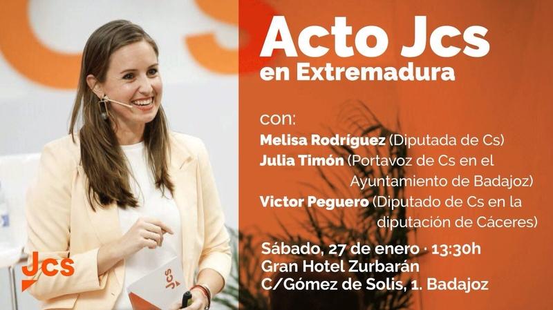 Melisa Rodríguez presenta en Badajoz la expansión nacional de la Secretaría de Juventud de Ciudadanos