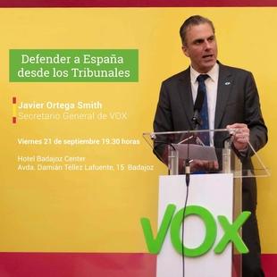 Conferencia en Badajoz del Secretario General de VOX, JavierOrtega-Smtih