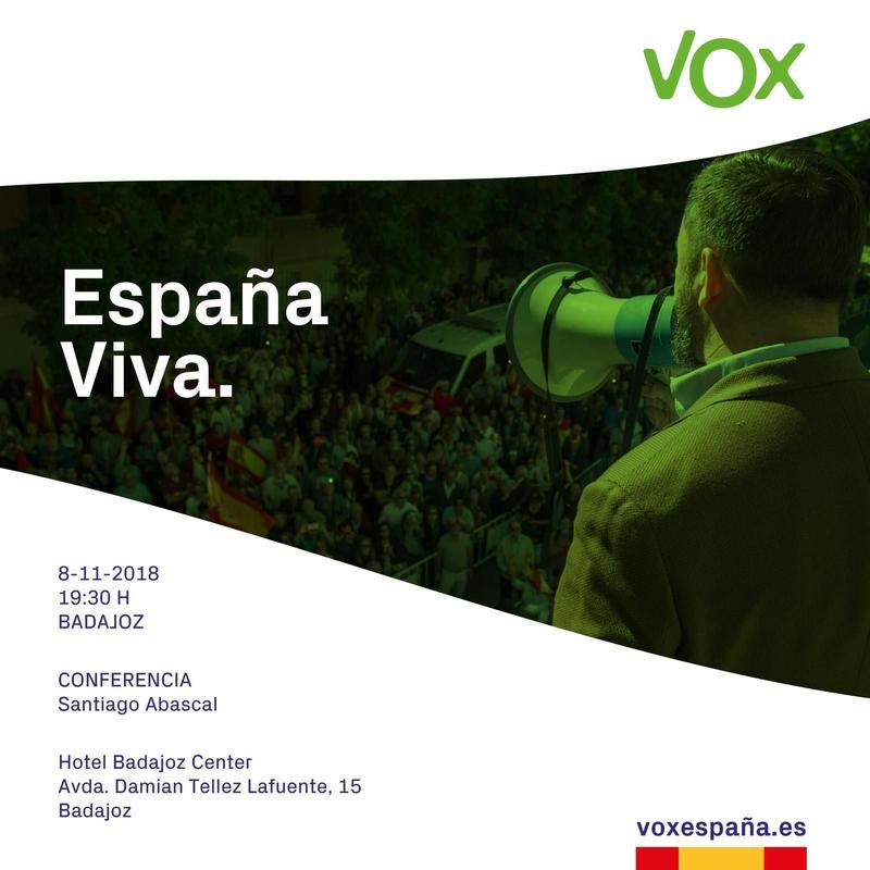 Conferencia de Santiago Abascal, presidente de VOX, en Badajoz