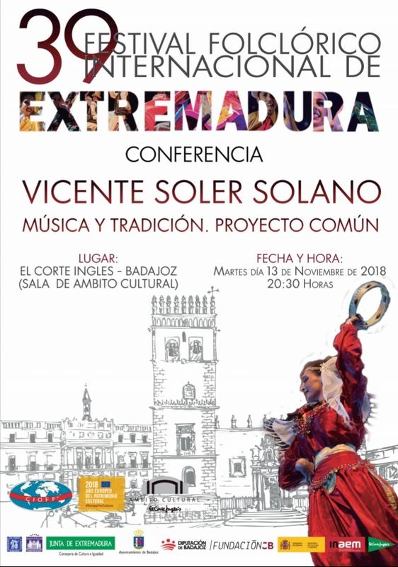 Ámbito Cultural acoge la Conferencia ''MÚSICA Y TRADICIÓN. PROYECTO COMÚN'' de Vicente Soler Solano