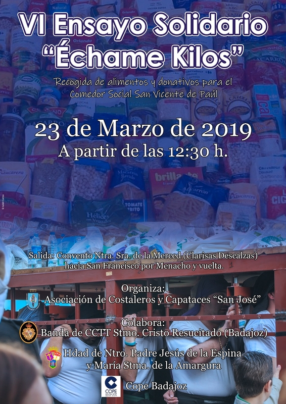 Este sábado 23 de marzo se celebra el VI Ensayo Solidario ''Échame Kilos''