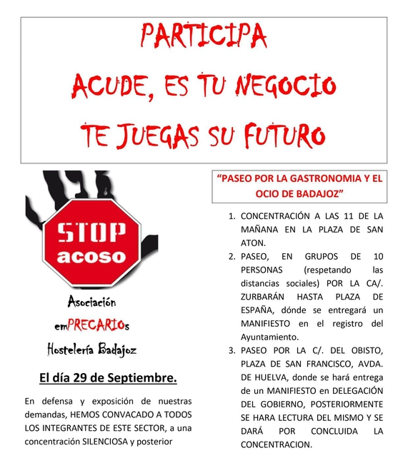Hosteleros de Badajoz realizarán una concentración el día 29