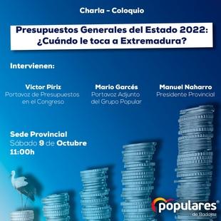 El PP de la provincia de Badajoz reivindica que los PGE de 2022 sean los presupuestos que cumplan con el futuro de Extremadura y los extremeños
