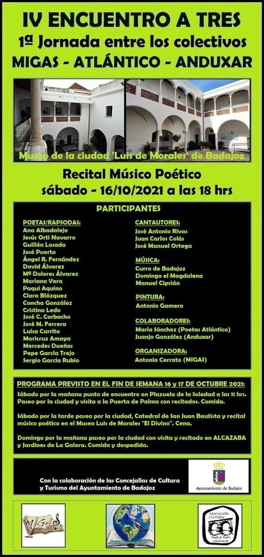 Este sábado llega el IV ENCUENTRO A TRES, ''1ª Jornada entre los colectivos MIGAS-ATLÁNTICO-ÁNDUXAR''